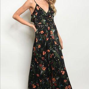 Dresses & Skirts - Black Floral Ruffle Maxi Dress
